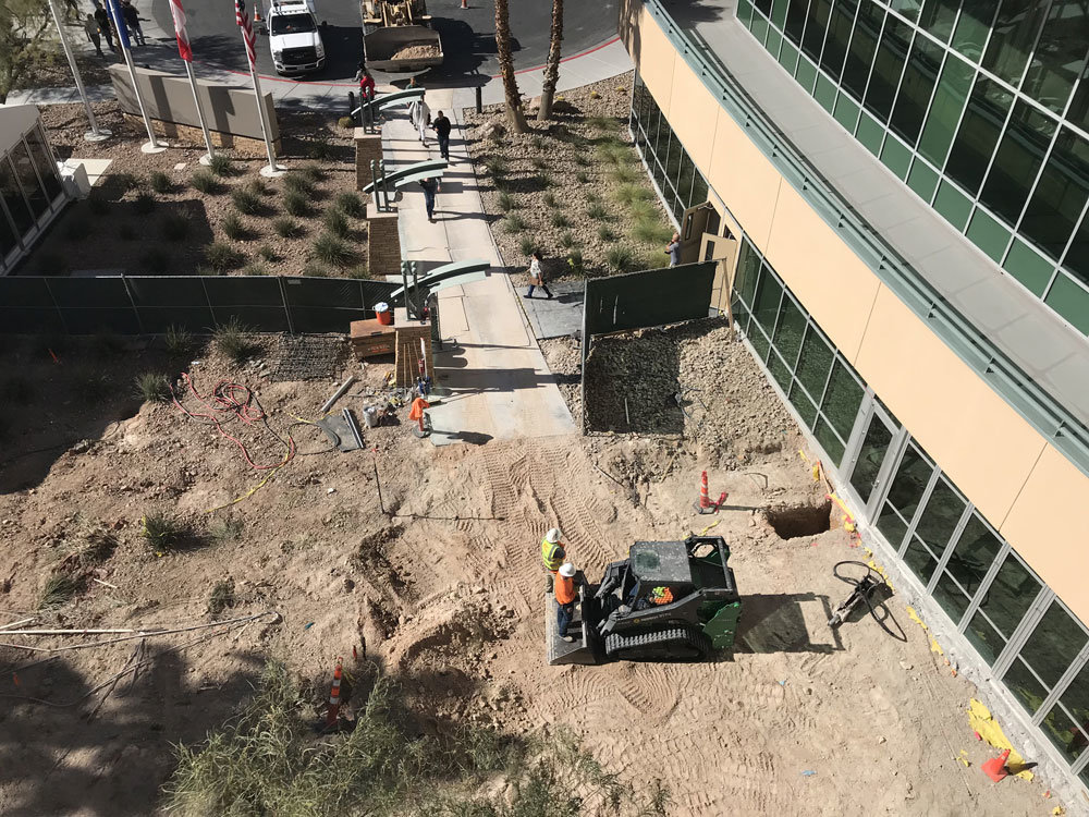 Front entrance to the ITC during construction.