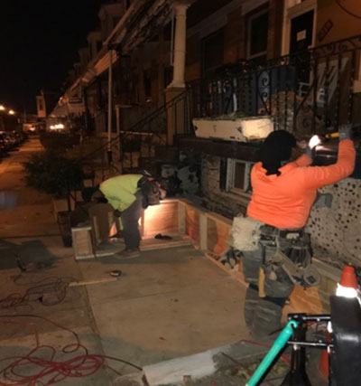 So the automated wheelchair lift is critical for Cianni's care and mobility. These pictures show the diligence of the volunteers, as they work in the dark ...